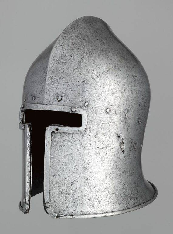 Italian barbuta, c. 1460, of the T-shaped form, the Metropolitan Museum of Art
