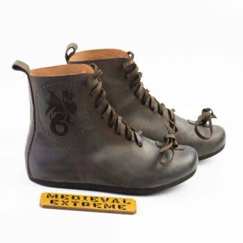 Battle boots with logo brown