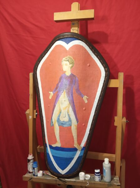 The art of shield painting - long range pavese shield with image on it.