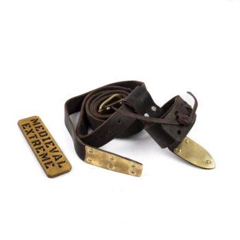 leather battle belt brass