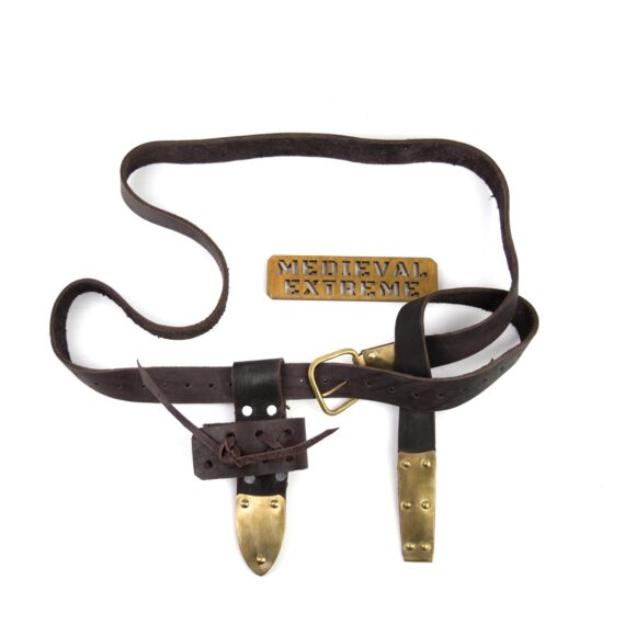 leather battle belt brass