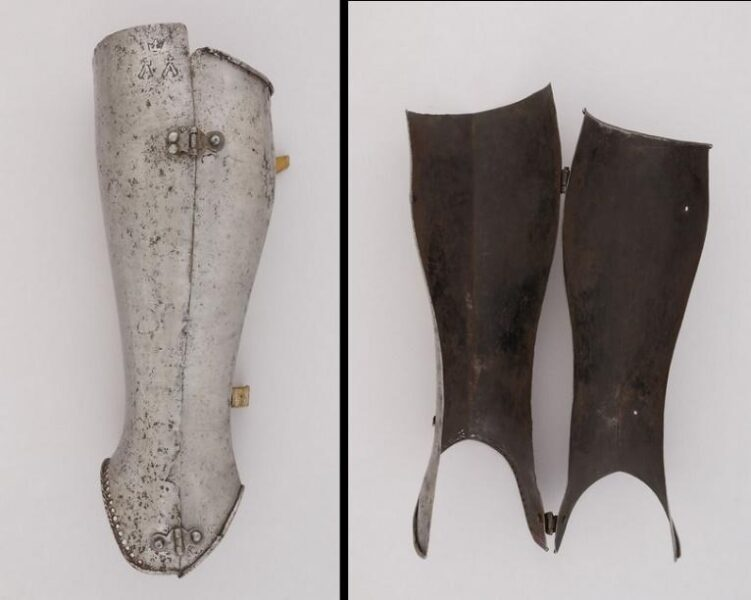 Figure 13 - Typical example of 15th century encased greave, hold in the Metropolitan Museum of Art (Italy, ca. 1450)