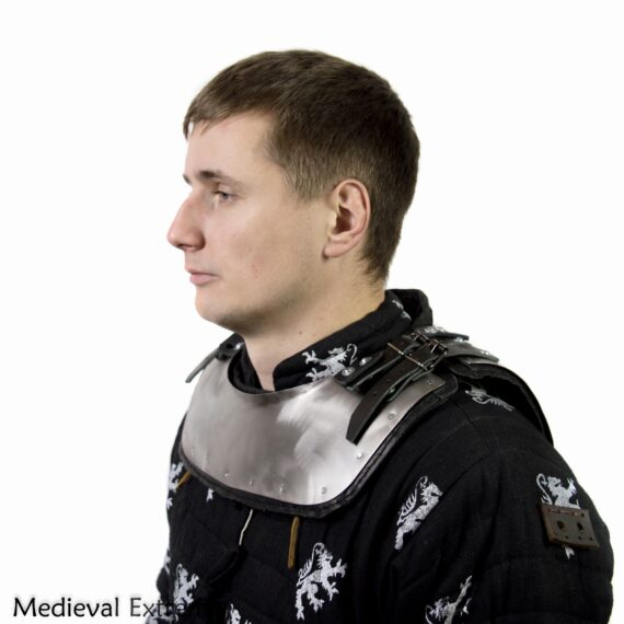 Gorget with padding neck protection for armored combat side