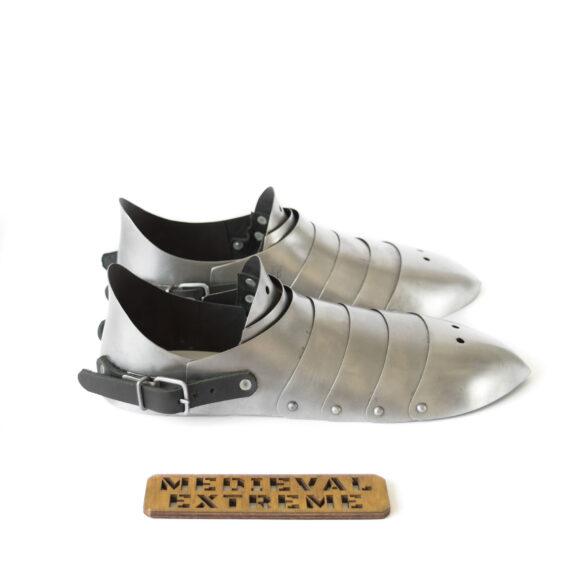 Hardened steel sabatons with heel side