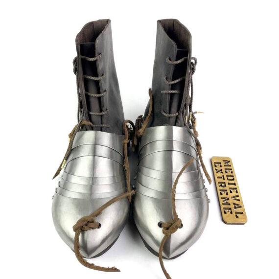 Titanium 15th century sabatons + battle boots bundle front