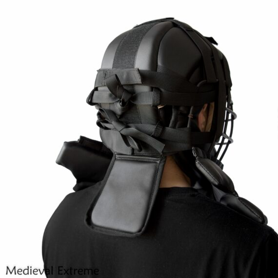 Soft armor training helmet with neck protection back