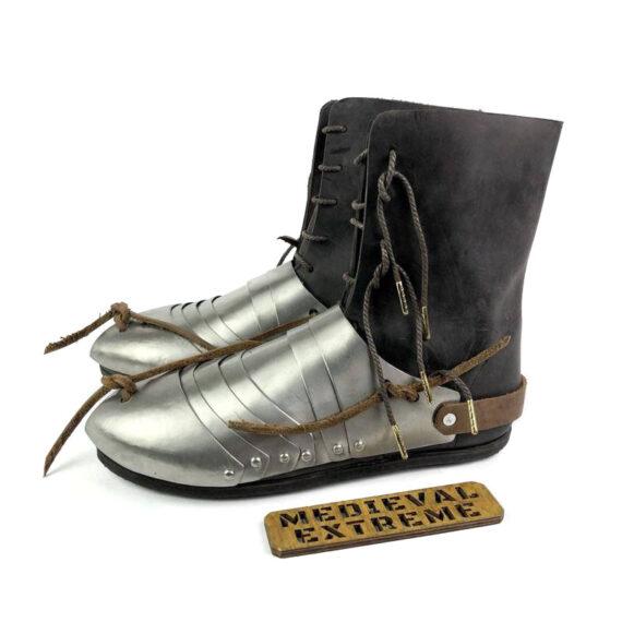 Titanium 15th century sabatons + battle boots bundle side