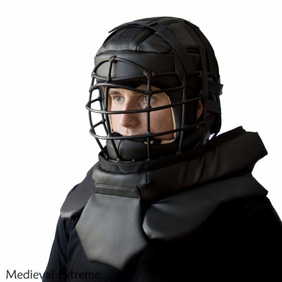 Soft armor training helmet with neck protection on fighter