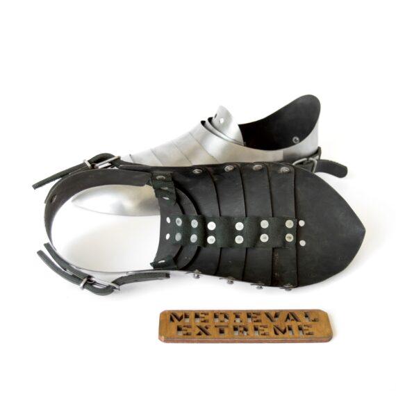 Hardened steel sabatons with heel