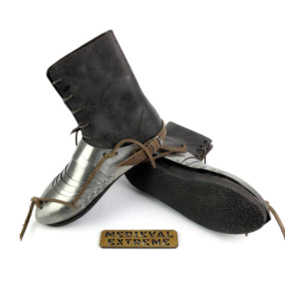 Titanium 15th century sabatons + battle boots bundle pair