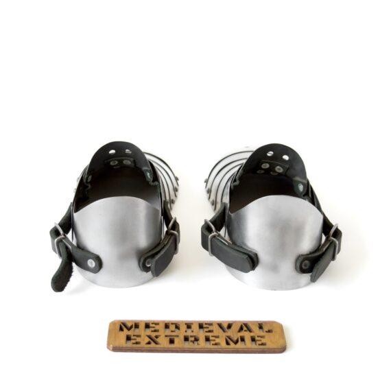 Hardened steel sabatons with heel back